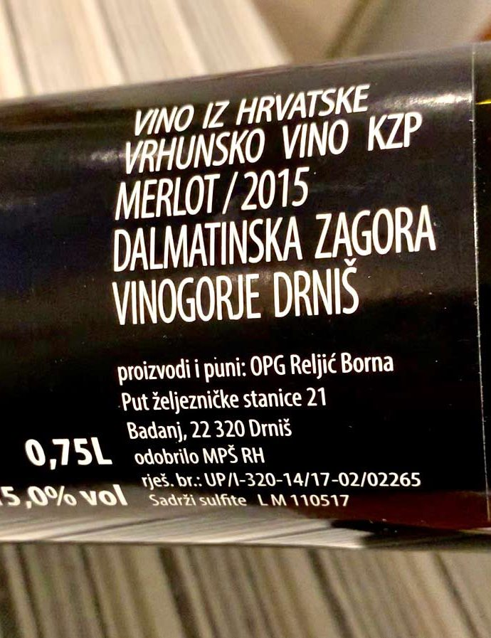 Understanding those Croatian wine labels … a brief guide…..