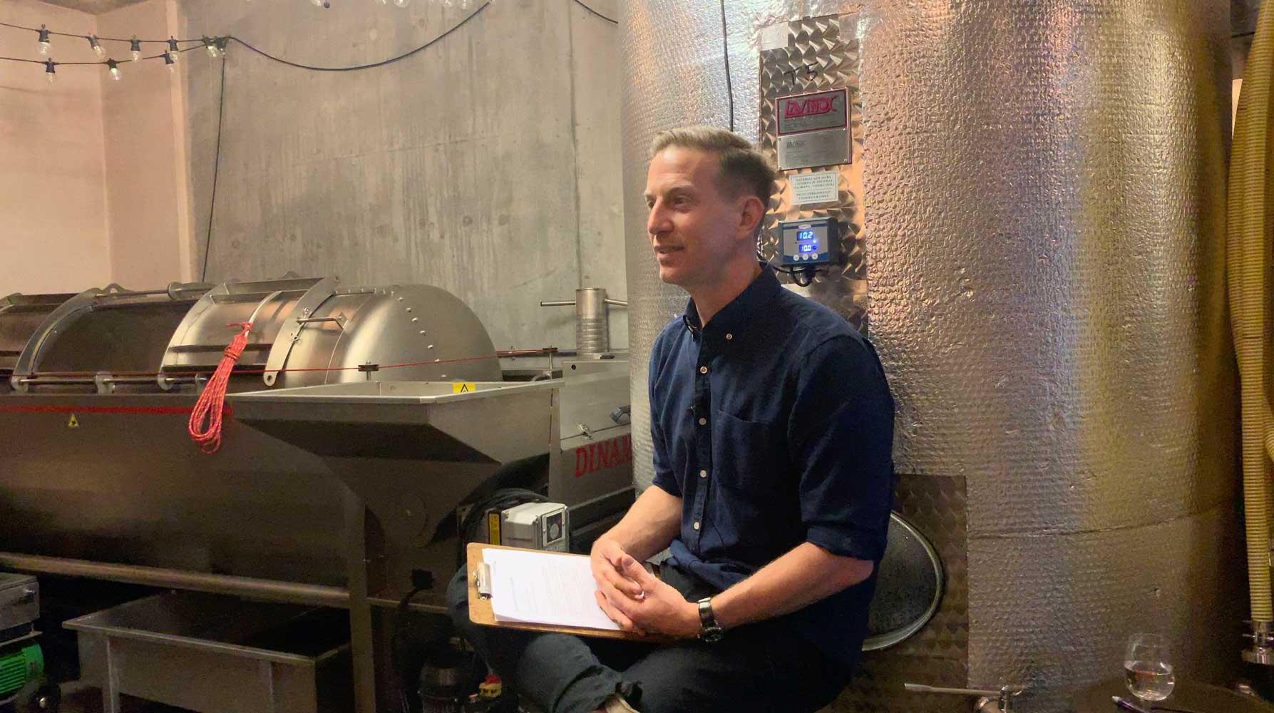 Gavin Monery making wines in the heart of London!